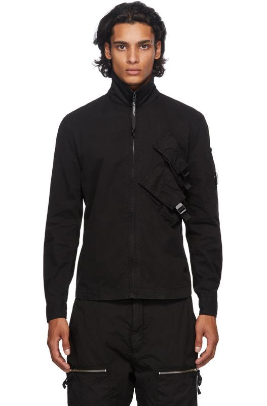 Черный овершот габардин на молнии C.P. Company, фото