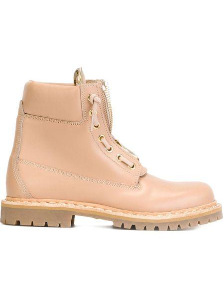Бежевые ботинки на шнуровке Balmain фото