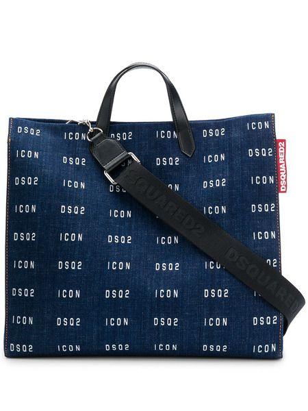 Джинсовая сумка-тоут с логотипом Dsquared2 фото