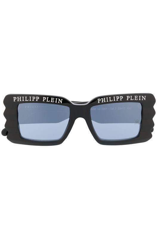 Женские черные солнцезащитные очки в толстой оправе Philipp Plein