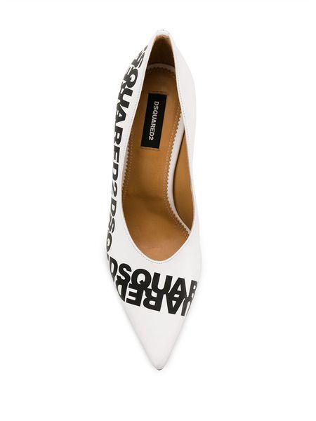 Белые туфли-лодочки с логотипом