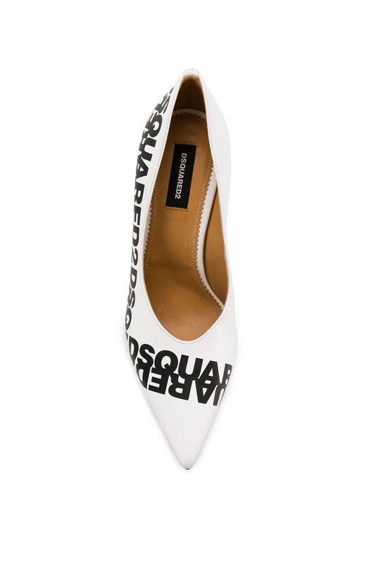 Белые туфли-лодочки с логотипом Dsquared2, фото