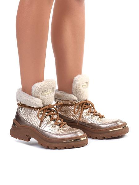 Золотистые ботинки на шнуровке Baldinini, фото
