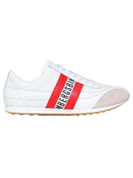 Белые кроссовки Barthel с перфорацией Bikkembergs фото