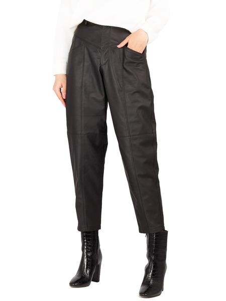 Черные кожаные брюки с высокой талией Forte Dei Marmi Couture, фото