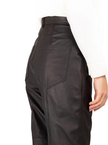 Черные кожаные брюки с высокой талией