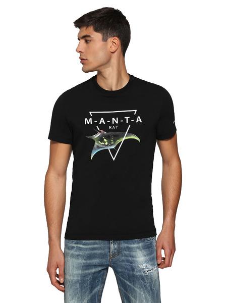 Черная футболка с принтом манты Bikkembergs, фото