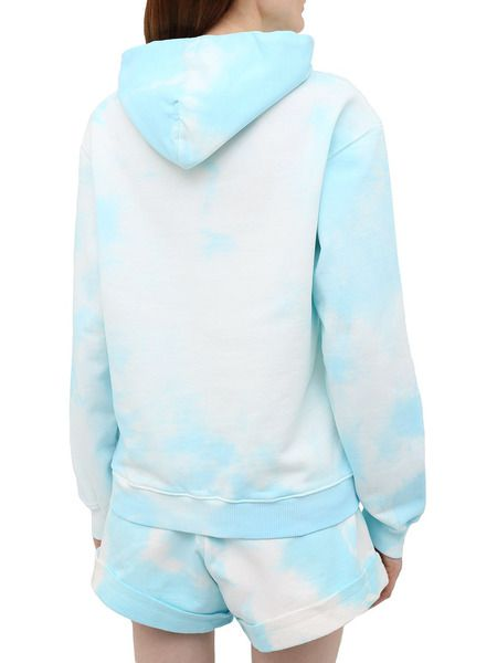 Голубой костюм (худи с шортами) с принтом тай-дай