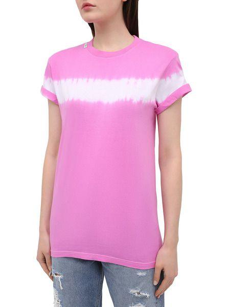 Розовая хлопковая футболка с принтом тай-дай