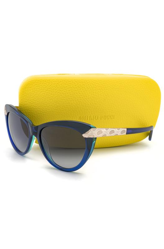 Солнцезащитные очки-кошечки в синей оправе EP0017 92W Emilio Pucci, фото