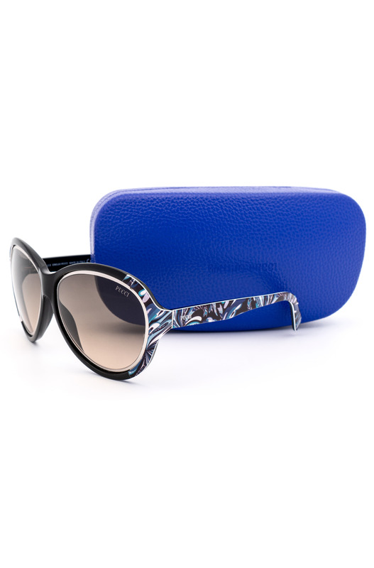 Солнцезащитные очки черного цвета с принтом EP0018 05B Emilio Pucci, фото