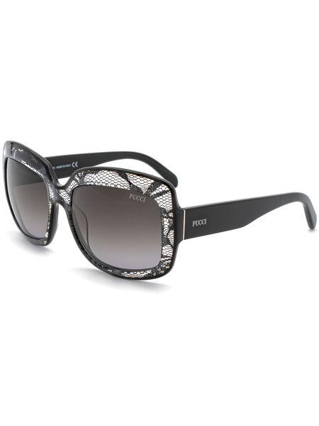 Прямоугольные солнцезащитные очки декорированы сетчатыми вставками EP0005 05B