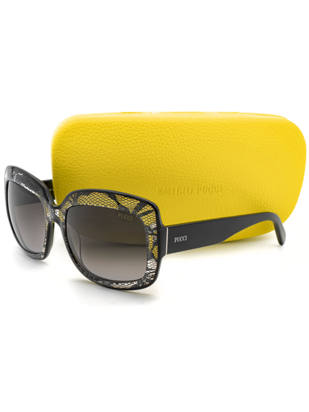 Прямоугольные солнцезащитные очки декорированы сетчатыми вставками EP0005 05B Emilio Pucci, фото