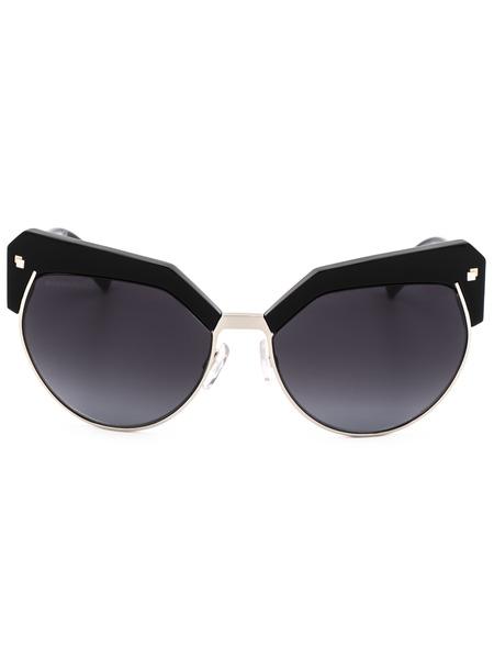 Солнцезащитные очки DQ0254 01B в черной оправе с вставками Dsquared2, фото