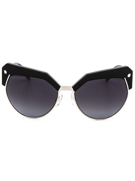 Солнцезащитные очки DQ0254 01B в черной оправе с вставками Dsquared2 фото