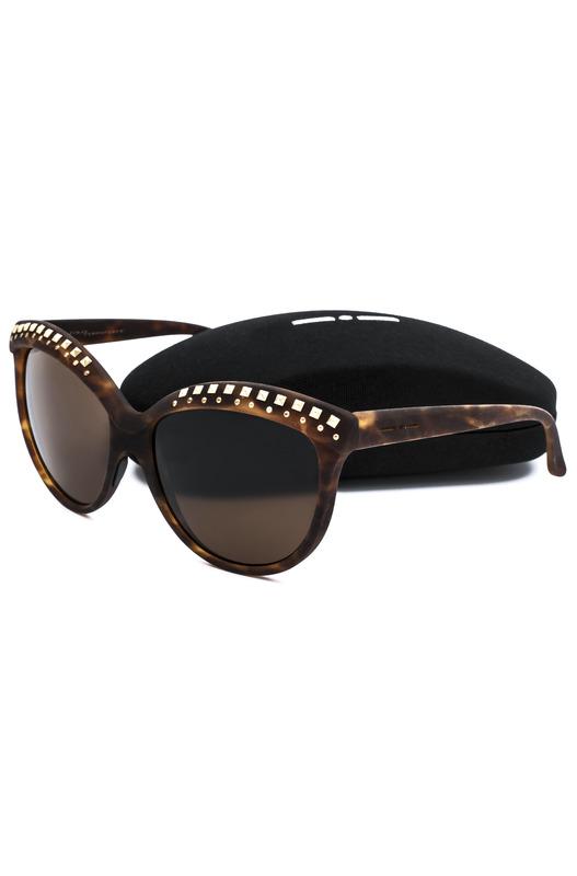 Коричневые солнцезащитные очки с декором на оправе Italia Independent