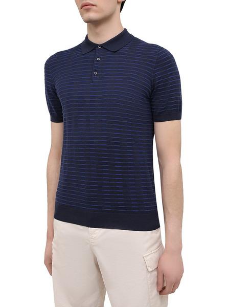 Синяя рубашка поло с короткими рукавами Corneliani, фото
