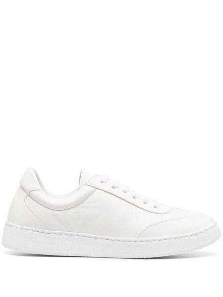 Кожаные кеды на шнуровке белого цвета Corneliani фото