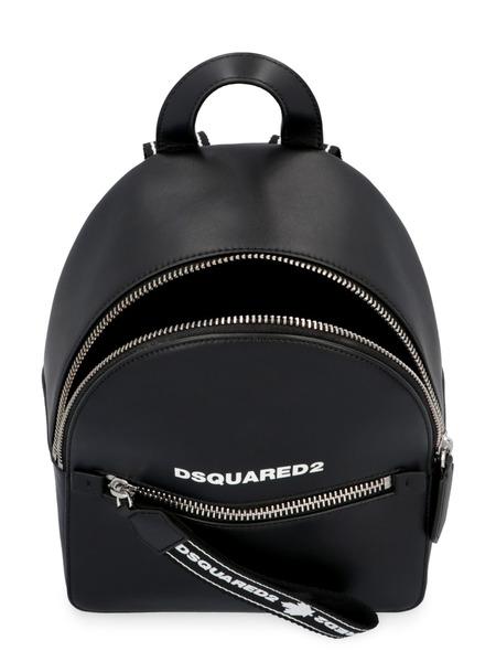 Черный кожаный рюкзак на молнии