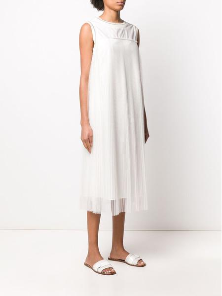 Белое плиссированное платье Fabiana Filippi, фото