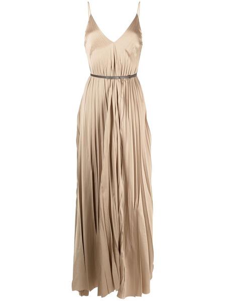 Плиссированное платье макси с поясом Fabiana Filippi, фото