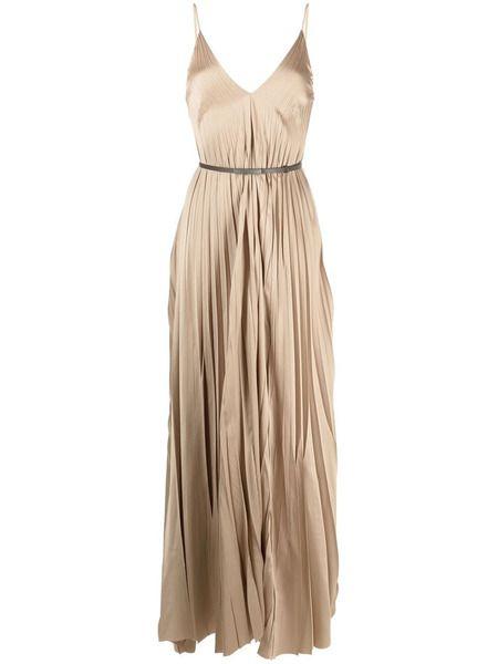 Плиссированное платье макси с поясом Fabiana Filippi фото