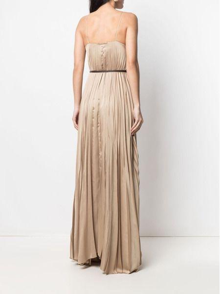 Плиссированное платье макси с поясом