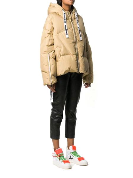 Бежевая куртка-пуховик з логотипом Khrisjoy, фото