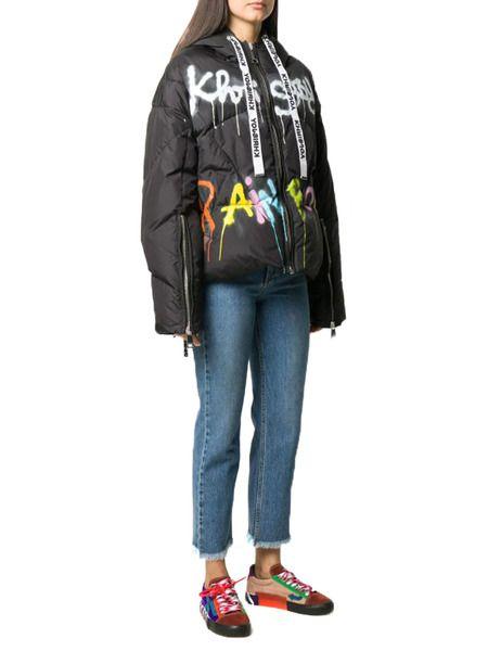 Черная куртка-пуховик с граффити