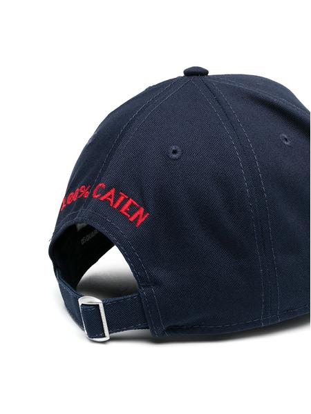 Синяя кепка с вышитым логотипом Dsquared2, фото
