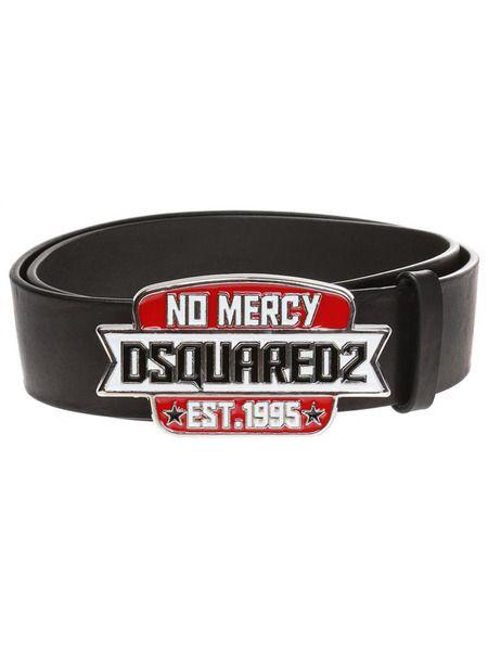 Черный ремень No Mercy с пряжкой-логотипом Dsquared2 фото