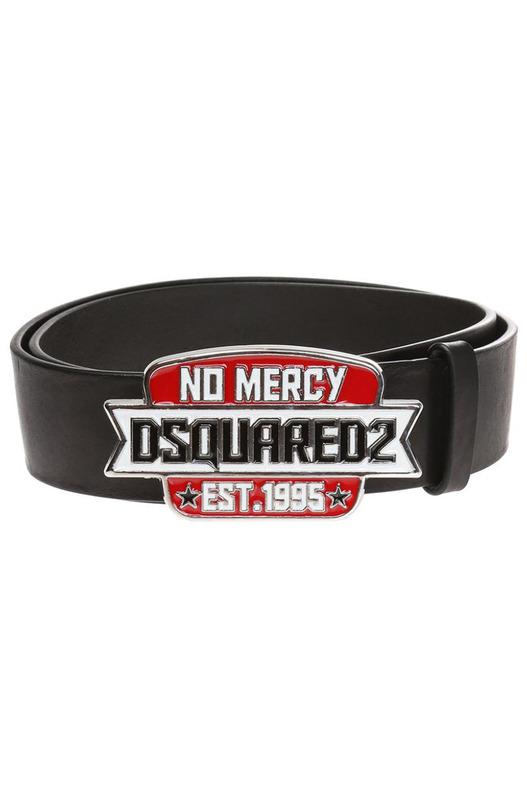 Черный ремень No Mercy с пряжкой-логотипом Dsquared2, фото