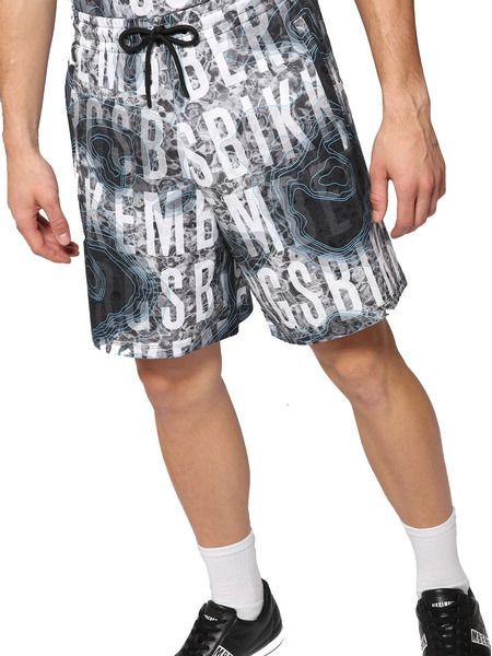 Серые шорты с принтом логотипа по всей длине
