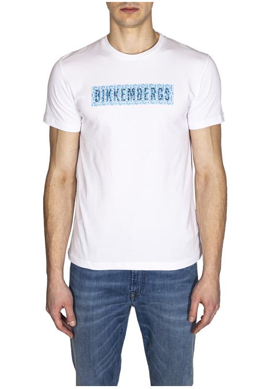Мужская белая футболка с логотипом Bikkembergs, фото