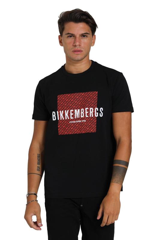 Черная футболка с принтом на груди Bikkembergs, фото