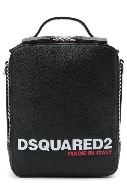 Черная сумка-мессенджер с логотипом Dsquared2, фото