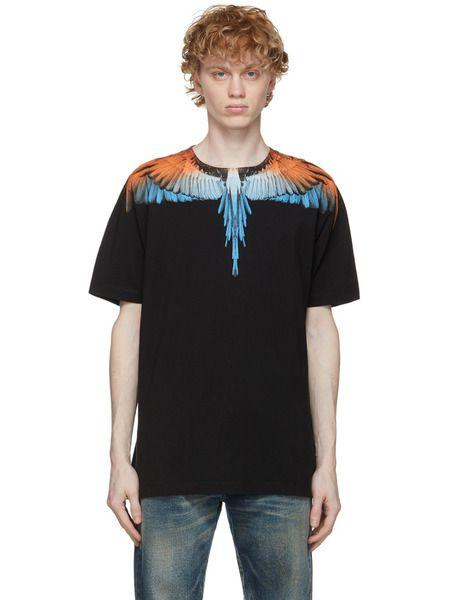 Черно-оранжевая футболка Wings Marcelo Burlon, фото