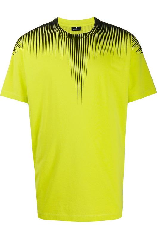 Желтая футболка с принтом Fall Wings Marcelo Burlon, фото