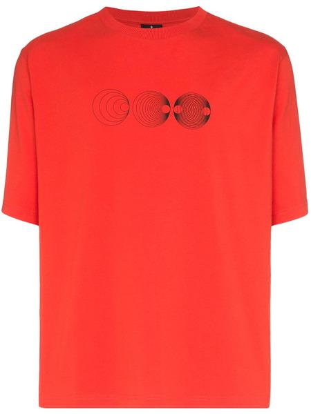 Красная футболка оверсайз с графичным принтом Marcelo Burlon, фото