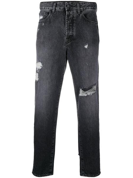 Черные зауженные джинсы с эффектом потертости Marcelo Burlon, фото