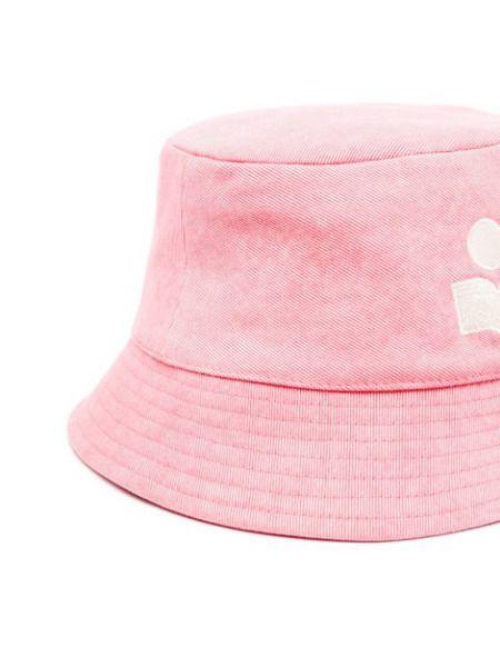 Розовая панама с вышитым логотипом