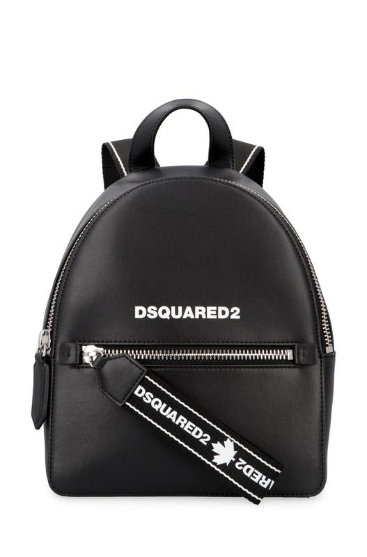 Черный кожаный рюкзак на молнии Dsquared2, фото