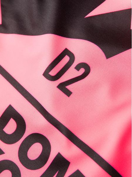 Слитный купальник розового цвета с логотипом Dsquared2, фото