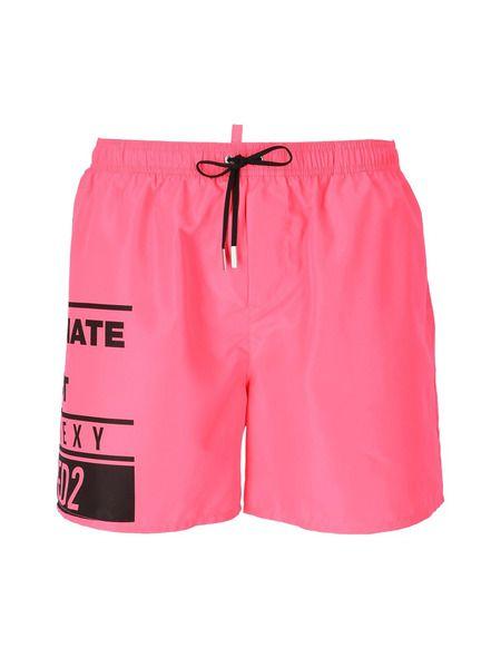 Розовые плавки-шорты с лого Dsquared2 фото