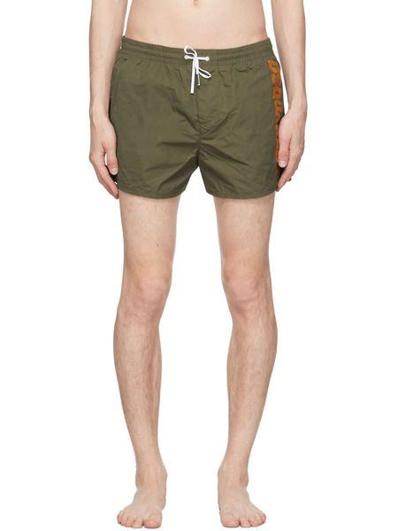 Плавки-шорты цвета хаки с лого