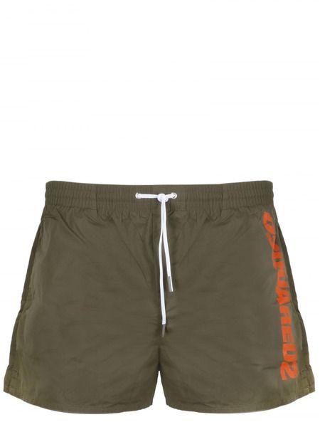 Плавки-шорты цвета хаки с лого Dsquared2 фото