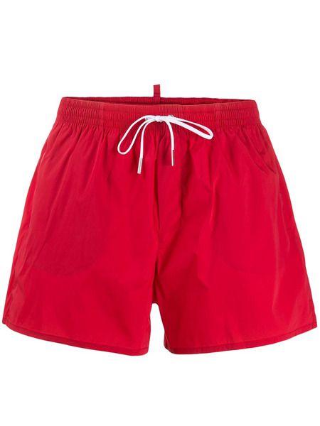 Красные плавки-шорты с принтом Icon Dsquared2 фото