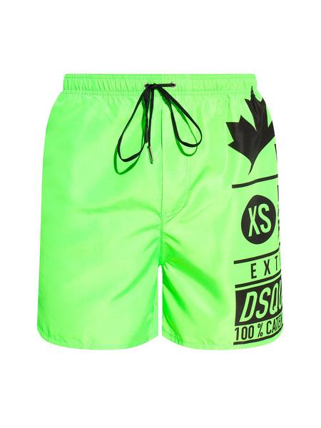 Салатовые шорты-плавки с логотипом Dsquared2, фото