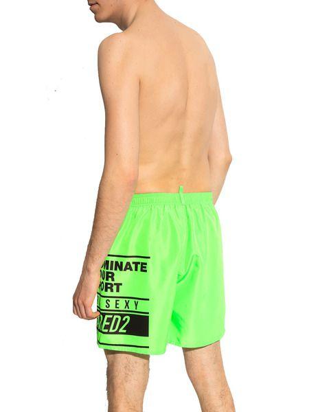 Салатовые шорты-плавки с логотипом