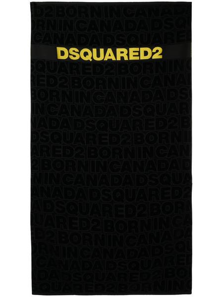 Черное пляжное полотенце с жаккардовым логотипом Dsquared2, фото